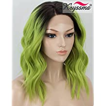 K'ryssma Green Ombre Lace Front Wig Dark Roots Green Short Bob Synthetic Lace Front Wavy Wigs for Women Glueless Half Hand Tied Heat Resistant