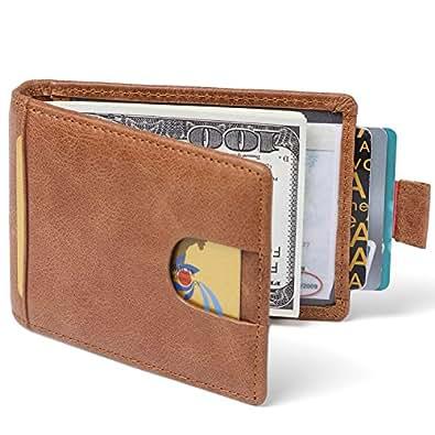 Huztencor マネークリップ 財布 メンズ カードケース 磁気防止 カード入れ 薄い財布 二つ折り財布 小銭入れ 革 本革 札入れ 薄型 RFID ブラウン