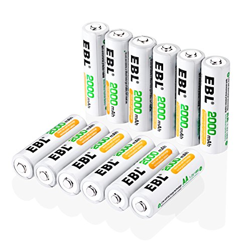 EBL 充電式ニッケル水素電池 単3形 12個入 ケース付き(最小容量2000mAh、約1200回使用可能)