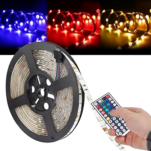LEDテープライト LED5Mイルミネーションライト高輝度RGB発光44キーリモコン操作12Vの電源アダプタ付