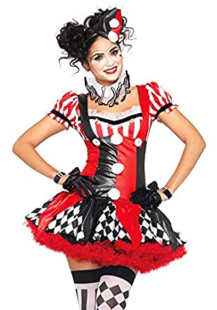 LEG AVENUE(レッグアベニュー) Harlequin Clown ドレス ネックピース 帽子 コスチューム ブラック/レッド レディース Sサイズ