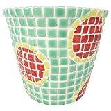 ハンドメイドのおしゃれなモザイクタイル デザイン植木鉢(大) 直径 約15cm×高さ 約13cm(ナチュラルグリーン×ロイヤルレッド×レモン)