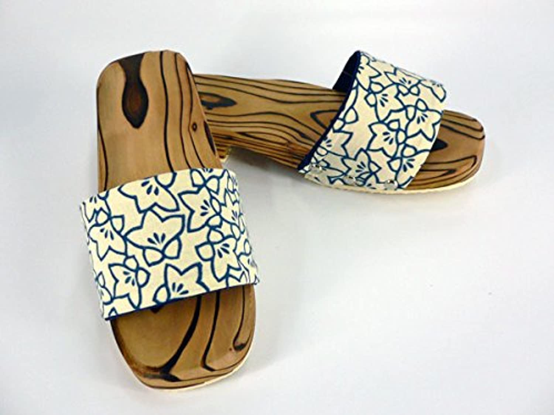 【勘吉】 庭下駄 焼き杉 「桔梗」 Lサイズ?手ぬぐい帯(帯幅7cm) 和柄 下駄サンダル 木製つっかけ