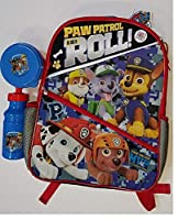 Boys 16 School Backpack w/ 2 Compartments Paw Patrol is on a Roll Top Pup + Juice Bottle & Snack Tub - Great For Back to School [並行輸入品]