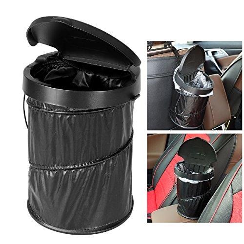 WINOMO 車用ゴミ箱 ダストボックス ゴミ袋30枚付き 固定ステー付き 蓋付き 折りたたみ 防水(ブラック)