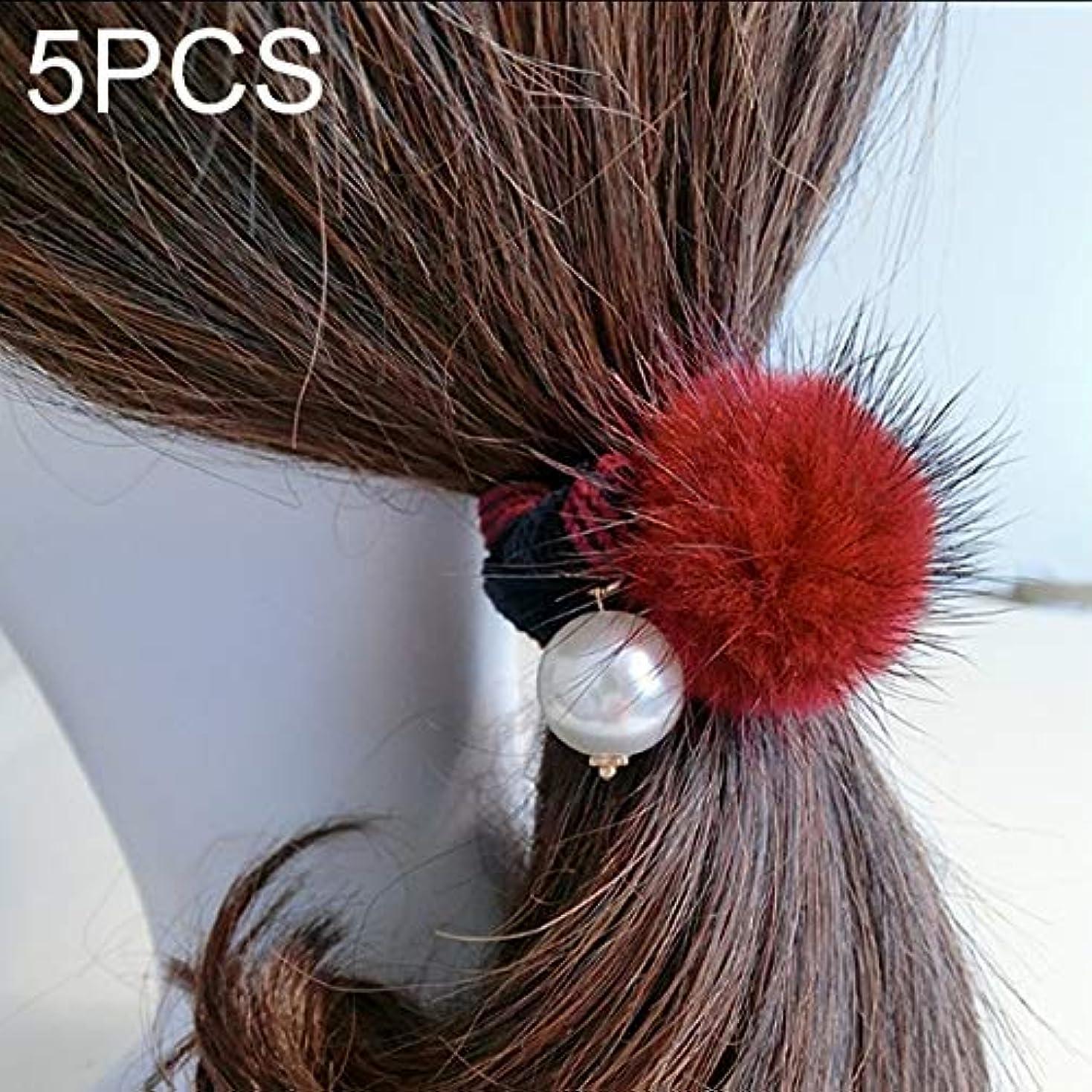 対象叫び声航海Hairpinheair YHM 5ピースミンクボールスタイル拡大ストライプ弾性ゴムヘアバンドロープランダムカラー配信