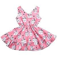 Tuaus 2019,Summer Children Kids Baby Girls Sleeveless Cute Rabbit Print Princess Vest Dress