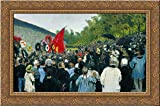 の年間Memorial会議の壁の近くのCommunards in the CemeteryのP ?Re Lachaiseパリの24?x 19ゴールドOrnate木製フレーム付きキャンバスアートby Repin , Ilya