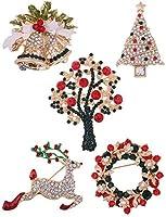5パッククリスマスブローチピンセットレディース–youniker Multi Coloredクリスマスブローチピンセット女の子キュートクリスタルクリスマスジュエリーギフトforキッズティーンXmas Decorations装飾ギフト