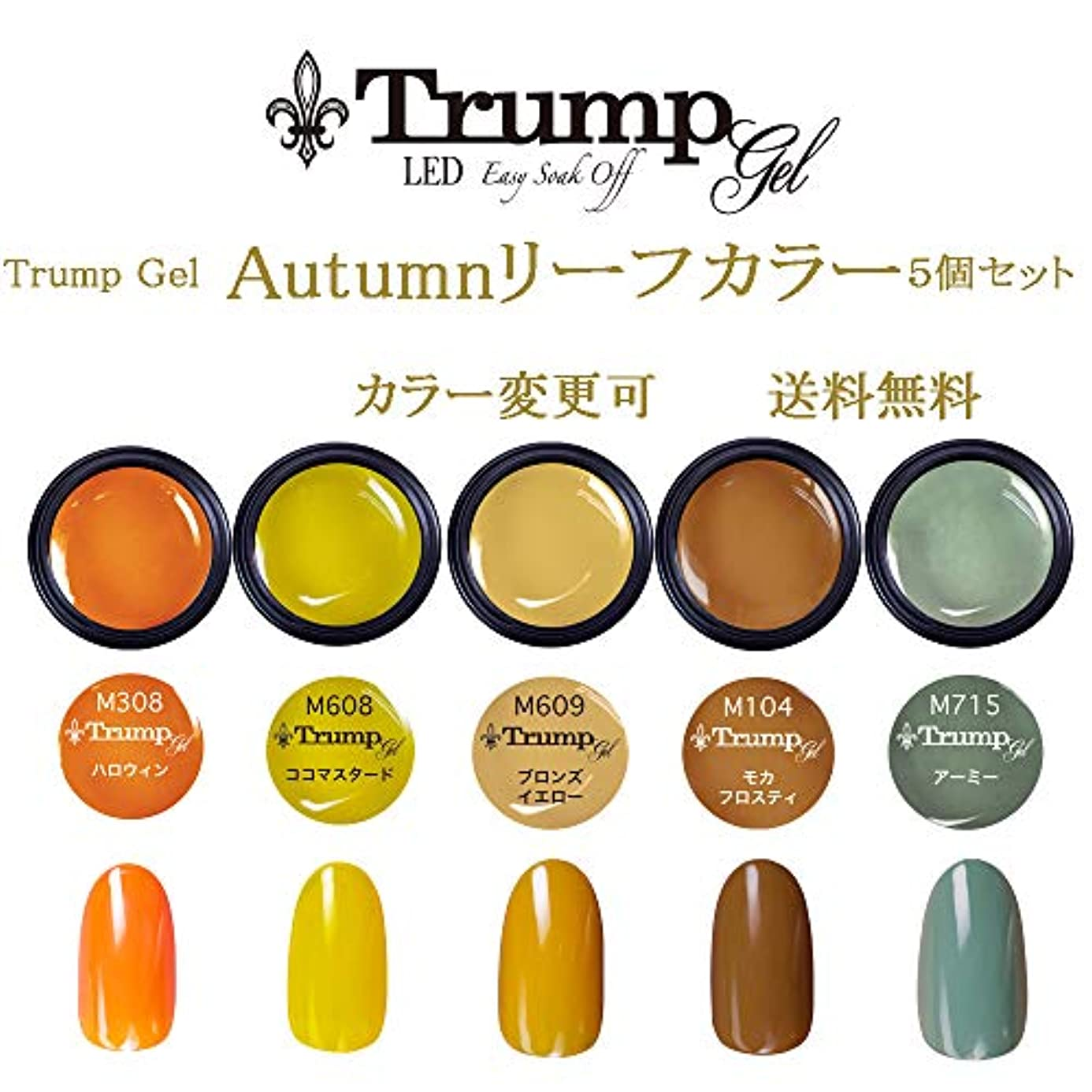 マディソン共感する教育する【送料無料】日本製 Trump gel トランプジェル オータムリーフカラー 選べる カラージェル 5個セット オータムネイル ベージュ ブラウン マスタード カラー