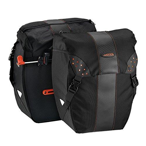 Ibera(イベラ)PakRak自転車用 全天候型2点セットパニエバッグ 着脱が容易なクリップ式 レインカバー付き