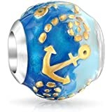 Tropical Vacation Nautical Ocean Blue Waves Anchor Dangle Charm Bead For Women Teen 14k Gold Plated .925 Sterling Silver Fits