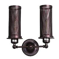 調節可能な鉄の壁ランプ、レトロクリエイティブledグリッドライトぶら下げランプ壁ランプアメリカンカントリーリビングルームの寝室の壁ランプベッドサイドランプ、2ライト