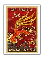 近東、極東 - ロッキードコンステレーションは、インド、中国、日本、パラダイスの国の鳥に飛びます - エアフランス - ビンテージな航空会社のポスター によって作成された ルシアン・ブーシェ c.1947 - アートポスター - 23cm x 31cm