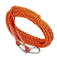 12ミリメートルクライミングロープ、ナイロン多機能洗濯物アウトドアレスキューロープ耐摩耗性緊急エスケープロープハイキング用ケイビングキャンプエンジニアリングレスキュー用品、オレンジ,30m