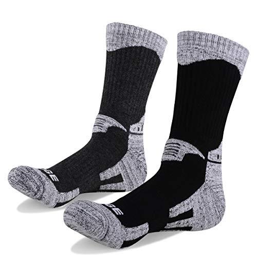 YUEDGE メンズソックス 多機能 アウトドアスポーツソックス 遠足 徒歩オフロード 登山用 トレッキング 通気吸湿速乾 男性靴下 (ブラック&グレー XL)