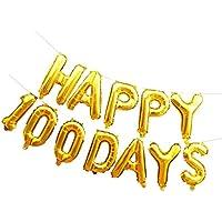 Dovewill 結婚記念日 ベビー誕生日 パーティー装飾 HAPPY 100 DAYSパターン アルミ箔 バルーン 全2色 - ゴールド