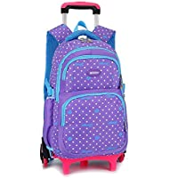 KJRJLG Kids Rolling Backpacks Luggage Six Wheels Unisex Trolley School Bags (Color : Purple)