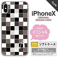 iPhoneX スマホケース ケース アイフォンX イニシャル スクエア グレー nk-ipx-tp1016ini C