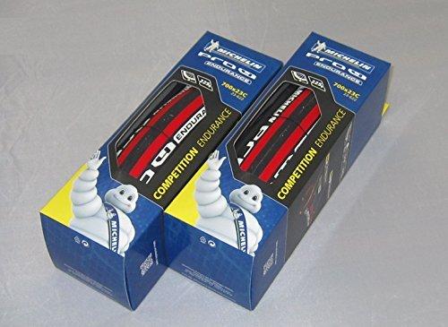 【国内正規代理店品】 Michelin【ミシュラン】 Pro4 Endurance V2【プロ4 エンデュランス V2】 ロード用クリンチャータイヤ 2本セット (レッド, 700×23)