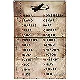 Pilot Code Aviation Metal Sign Phonetic Alphabet Alpha Bravo Charlie