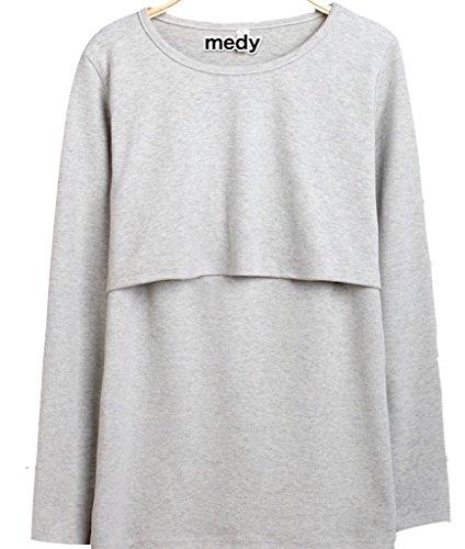 授乳服 授乳 Tシャツ インナー 長袖 産前 産後 用 年中使える マタニティ ウェア medy(メディー) これ一枚で春夏秋冬、授乳後も。ベーシックな無地デザインの 授乳Tシャツ ♪♪ 授乳口付き インナー (長袖 フリー 単品・グレー)