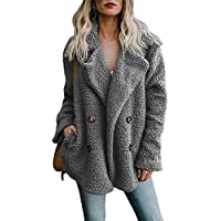 BOZEVON Womens Fleece Coat - Autumn Winter Warm Open Front Collar Coat Oversize Solid Color Casual Fleece Cardigan Jacket Outerwear