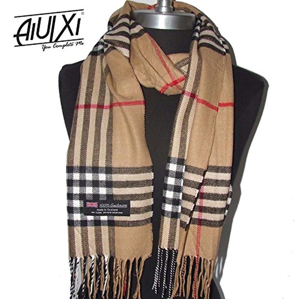 慈悲予見する支配的aiuixi1991 100 %カシミアスカーフMade in Scotland格子柄チェックデザインソフトキャメル – プレイド&チェック