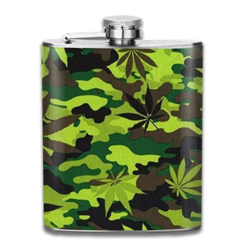 不定パワーセルラッドヤードキップリング迷彩 大麻の葉 フラスコ スキットル ヒップフラスコ 7オンス 206ml 高品質ステンレス製 ウイスキー アルコール 清酒 携帯 ボトル