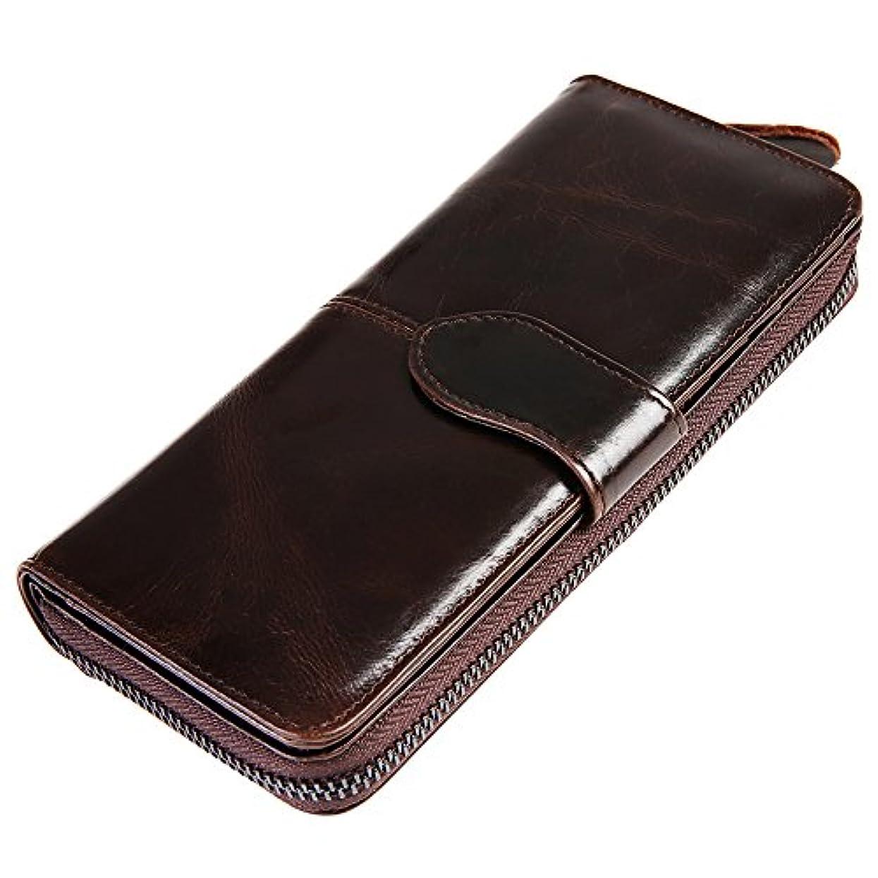 メジャー高度な独立してAllanEudora メンズ 長財布 革 小銭入れ 領収書入れ 財布 カード入れ 11ヶ所 大容量