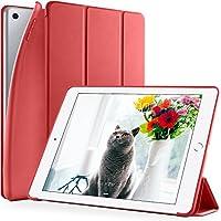 DTTO 新しい iPad 9.7 2018/2017 汎用 ケース 生涯保証 超薄型 超軽量 TPU ソフト スマートカバー 三つ折り スタンド [オート スリープ/スリープ解除] 2017年と2018年発売の新しい9.7インチ iPad 対応(モデル番号A1822、A1823、A1893、A1954) アップルレッド