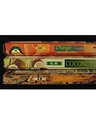 カップケーキココナッツシナモンオレンジ60 gr Incense Sticks 3香りサンプラーギフトセット
