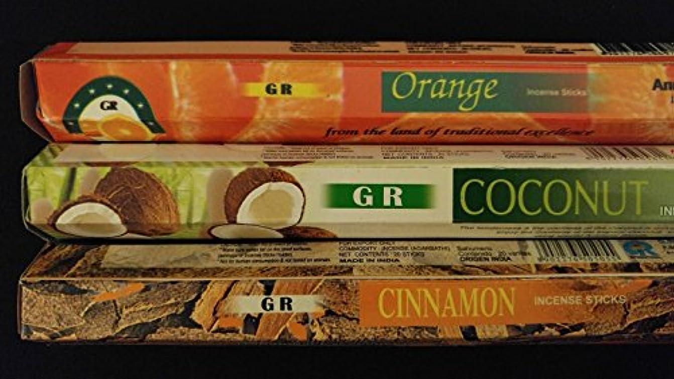 同種の腹部湿ったカップケーキココナッツシナモンオレンジ60 gr Incense Sticks 3香りサンプラーギフトセット
