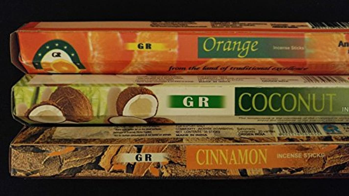 踏みつけキャラバン内側カップケーキココナッツシナモンオレンジ60 gr Incense Sticks 3香りサンプラーギフトセット