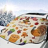 車の日よけ車のフロントガラスカバー感謝祭の七面鳥のかぼちゃ紫外線カット 断熱 目隠し簡単着脱 カー用品 雪対策グッズ 紫外線 落葉対策 150 * 120cm カーユニバーサル