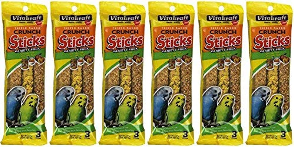 トラップ地殻教師の日Vitakraft Kracker Sticks Treat Variety Pack for Parakeet (6 Packs / 3 Sticks Per Pack) [並行輸入品]