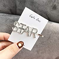COODIO Women Girls Korean Style Silver Color Rhinestone Letter Hair Clip for Fashion Jewelry