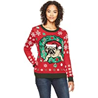 Ugly Christmas Sweater Women's Pug in Wreath