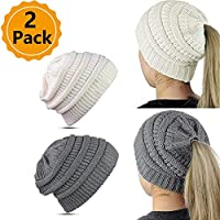 WJA Ponytail Beanie Tail Hats Cable Knit Messy Bun Cap 2 Pack