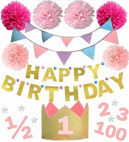 誕生日撮影セット 【100日祝い ハーフバースデー 3歳までの年齢シール付き】 (ピンク)