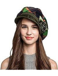 Maitose ™レディースScottish Plaid Wool Peakedキャップベレー帽