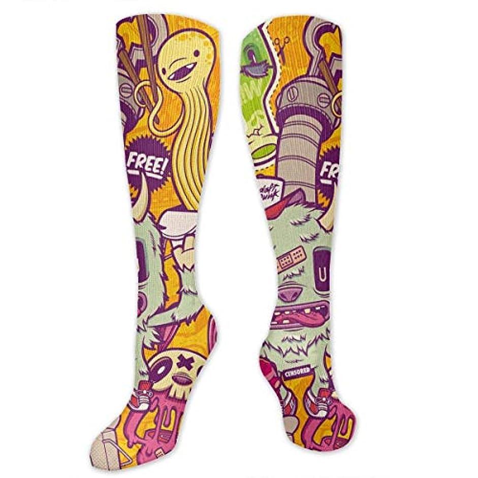 定期的な法律により貢献するqrriy tripyアニメハンバーガードリンク- 3 D抗菌アスレチックソックス圧縮靴下クルーソックスロングスポーツ膝ハイソックス少年少女キッズ幼児