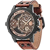 POLICE mens Quartz Watch, analog Display and Leather Strap PL.14536JSB/12A