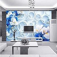 Lcymt カスタム写真壁紙現代のファッション3Dサークルブルーフローラルテレビの背景壁画不織布壁紙用寝室の壁-400X280Cm