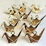 立体おりづる 4個 和風おりがみ ゴールドチャーム アクセサリーパーツ ハンドメイド 手芸材料