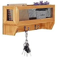 3-Hook Rustic Wooden Wall Mounted Entryway Organizer Rack with Metal Mesh Storage Basket [並行輸入品]