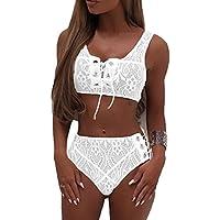 Almaree Woman's Lace up Front Tie Side Bottom 2PCS Bikini Set Lace Swimwear