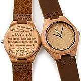 CUCOL メンズ 木製腕時計 ブラウン 牛革ベルト カジュアルウォッチ 花婿付き添い人へのギフトに ボックス付き for my hunband