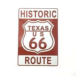 [cat fight] U.S. Route 66 国道66号線 USA ヒストリック ルート66 インテリア 反射 カー 防水 ステッカー シール (ブラウン8.2cm12cm)