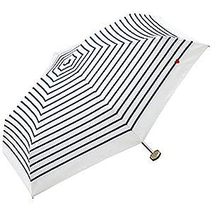 w.p.c 折りたたみ傘 ハート刺繍 ボーダー 手開き オフ 50cm 302-126